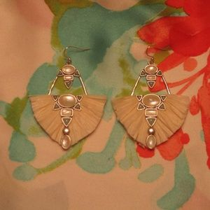 SOLD_Lucky Brand Raffia and Stone Earrings